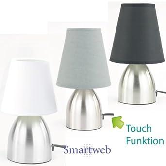 stylische nachttischlampe mit touch funktion grau beleuchtung. Black Bedroom Furniture Sets. Home Design Ideas