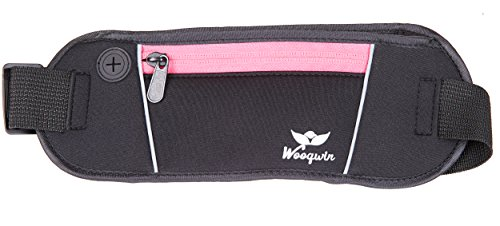 Woogwin Sports Running Waist Pack Runner Belt - Secure Comfortable Travel Money Belt for Iphones + Accessories for Men and Women (Pink) (Runner Waist Pack compare prices)