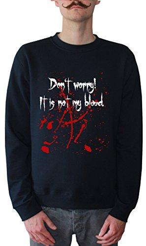 Mister Merchandise Men Sweatshirt Sweater DonŽt Worry, itŽs not my Blood Felpa da Uomo, Taglia: M, Color: Navy
