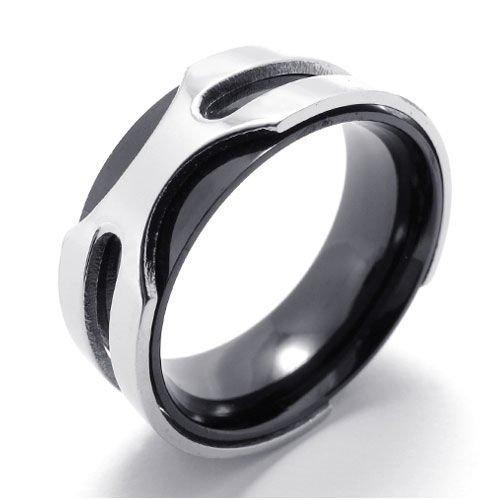 (キチシュウ)Aooazジュエリー メンズステンレスリング指輪 二層シンプルデザイン ブラックとシルバー 高品質のアクセサリー 日本サイズ17号(USサイズ8号)