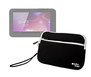 "DURAGADGET Black ""Travel"" Water Resilient Neoprene Slip-In Pouch With Front Storage Compartment For Blackberry PlayBook Tab - 64 GB - TFT ( 1024 x 600 ) - rear + front camera - Wi-Fi, Bluetooth, Generic 7"" inch Touch Screen Allwinner A13 1.0GHz CPU Android 4.0 Tablet PC 4GB HDD 512MB WiFi"
