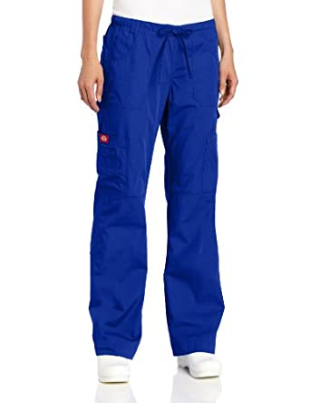Dickies Scrubs Women's Tall Everyday Scubs Junior Fit Flare Leg Pant, Galaxy Blue, Large
