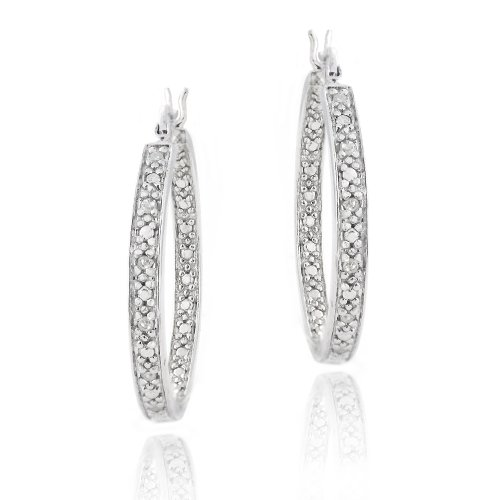 Sterling Silver 1/8ct Diamonds 25mm Hoop Earrings