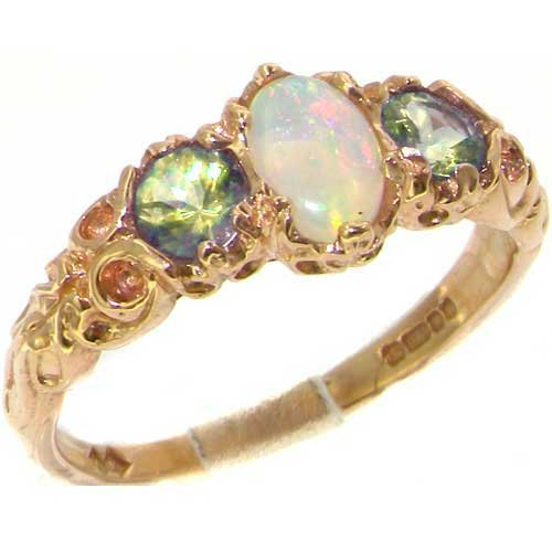 Ladies Solid 14K Yellow Gold Natural Opal & Peridot English Victorian Trilogy Ring - Size 4.5 - Finger Sizes 4 to 12 Available - Perfect Gift for Birthday, Christmas, Valentines Day, Mothers Day, Mom, Mother, Grandmother, Daughter, Graduation, Bridesmaid.