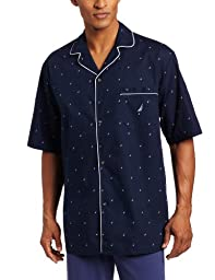Nautica Men\'s Woven J-Class Camp Shirt, Peacoat, Small