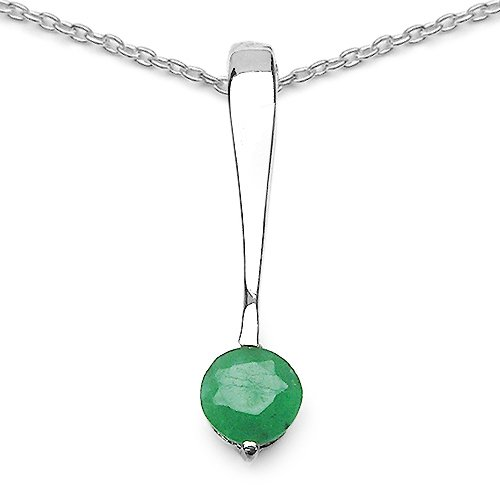 0.5 Carat Genuine Emerald 925 Sterling Silver Pendant