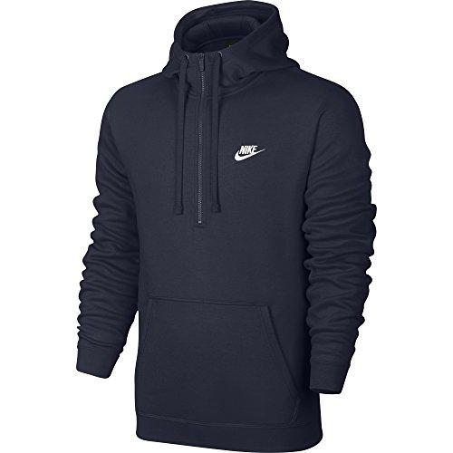 Nike Mens Sportswear Half Zip Club Fleece Hooded Sweatshirt Obsidian Blue/White 812519-451 Size Medium