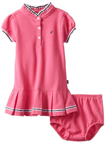 Nautica Baby-girls Infant Pique Polo Dress, Pink, 12 Months