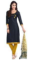 Women Latest Fancy Designer Salwar Suit Dress Material Khadi Navy Blue Dyed + Lace Unstitched
