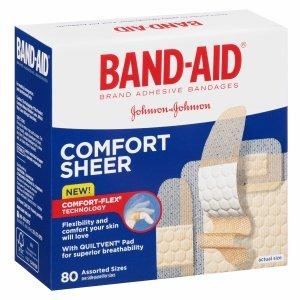 Comfort-Flex Adhesive Bandages Sheer 80ct, Assorted Sizes
