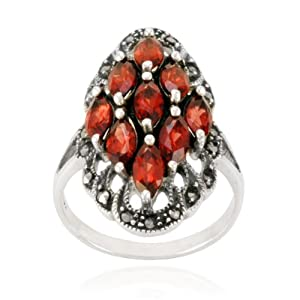Sterling Silver Marcasite and Garnet Multi-Stone Marquise Ring, Size 7