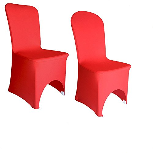 ANKKO Spandex Lycra Elastic Arched Chair Cover Wedding Banquet Reception(Red)