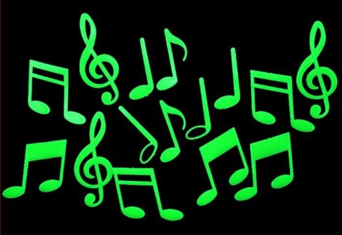 TY0088 Glow in the Dark Stickers, Music Symbol, Fluorescent Sticker, Non-Toxic - 1