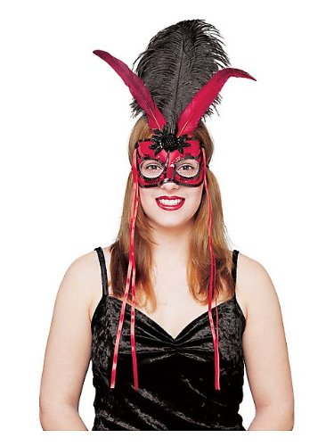 Red and Black Costume Feather Mask Mardi Gras