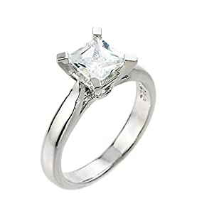 High Polish 925 Sterling Silver Princess-Cut Four-Prong Solitaire CZ Engagement Ring (Size 8)