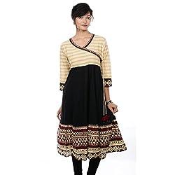 Saamarth Impex V Neck Black & Yellow Color Printed Long Angrakha Style Cotton Kurties SI-2078