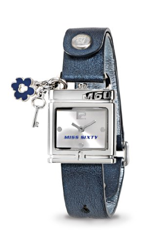 Miss Sixty Ladies Watch Srb001 In Collection Lucchetto, 2 H and S, Silver Dial and Blue Strap