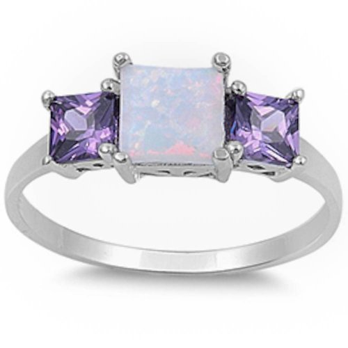 New Princess Cut White Australian Opal & Simulated Amethyst .925 Sterling Silver Ring Size 5