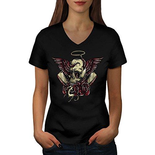 skull-curse-blades-devil-lair-women-new-black-m-v-neck-t-shirt-wellcoda