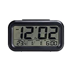 DuaFire LCD Digital Clock Alarm Clock Night Light Battery Operated with Snooze Function and Optional Weekday Alarm Mode (Black)