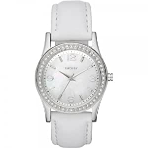 DKNY Ladies Stainless Steel Watch with Leather Strap and Stone Set Bezel