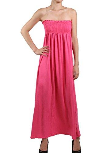 Exit101 Women'S Smocked Tube Top Beach Dress Solid Plain Sundress (Medium, Fucshia)