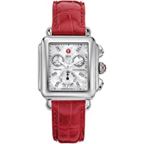 Michele Signature Deco Diamond Dial Garnet Alligator Mww06p000046 Watch