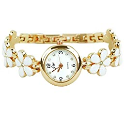 Rbenxia Watches Rose Gold Daisies Flower Bracelet Quartz Wrist Watch Women Girl Gif