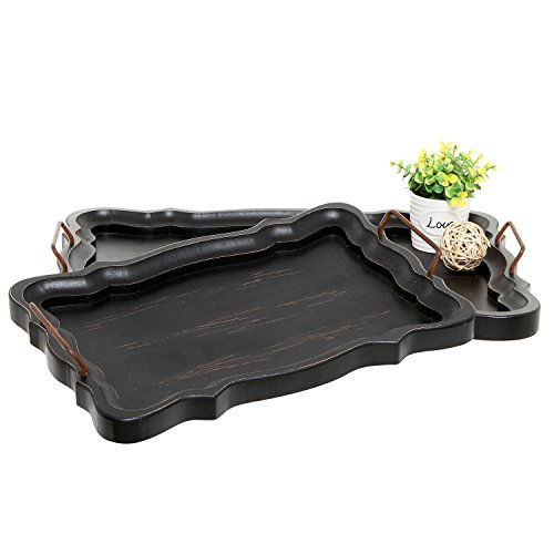 Set of 2 Rustic Black Brown European Vintage Style Wood Serving Trays / Platters with Metal Handles