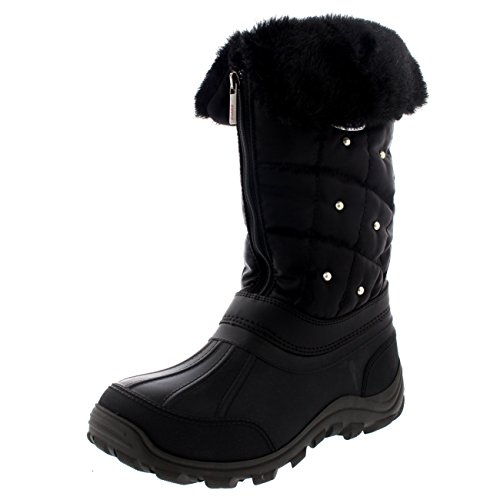 Womens Olang Lidia Zip Rain Faux Fur Warm Snow Winter Mid Calf Boots jron mid calf genuine sheepskin leather woman shearling snow boots rubber sole anti slip function warm boots for winter autumn