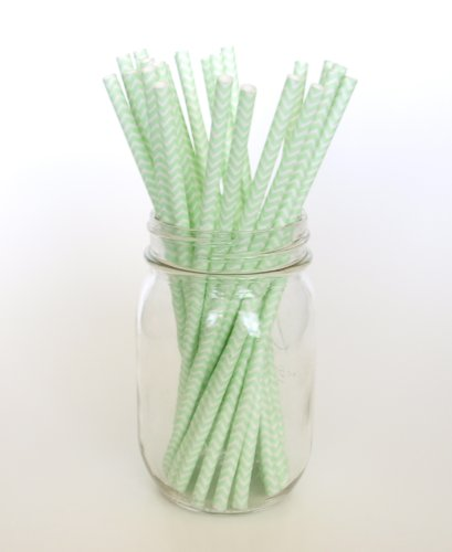 Mint Chevron Vintage Straws - 25 - Pop Into A Cocktail, Ice Tea, Lemonade, Martini Or Smoothy front-718176
