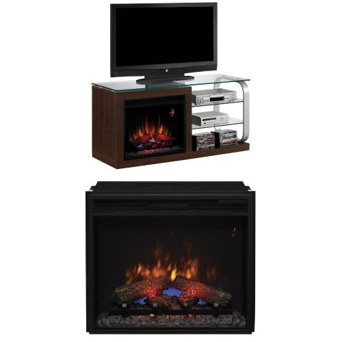 "Complete Set Luxe Media Mantel In Black Metal With 23"" Spectrafire Plus Insert With Safer Plug"
