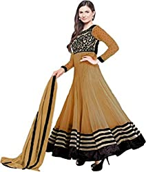 RockChin Fashions Embroidered Anarkali (Beige_Unstitched)