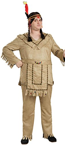 Forum Novelties Men'S Native American Brave Costume, Tan, Plus Size front-599621