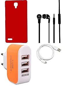 NIROSHA Cover Case Headphone USB Cable Charger for Xiaomi Redmi Note - Combo