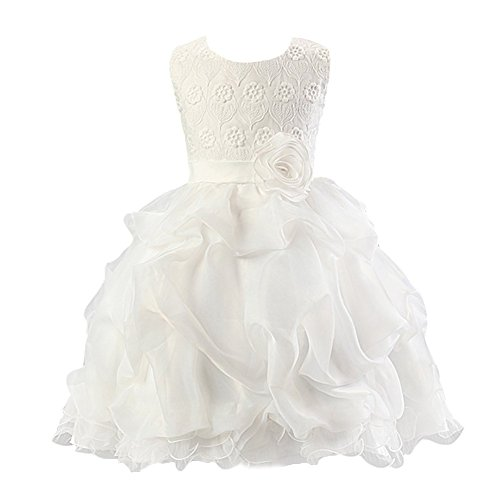 Abito Estivo Bambina - LATH.PIN Principessa da Sposa Vestito Bambina Floreale Pizzo Corto Abiti da Cerimonia