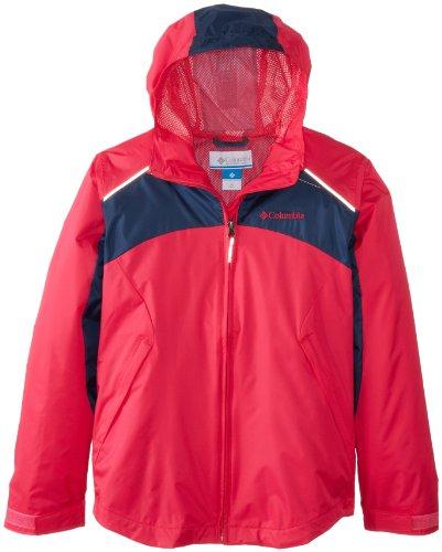 Columbia Big Girls' Wet Reflect Jacket, Bright Rose, Medium front-1027307