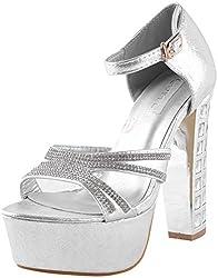 Deccan Shoes Girls Silver Satin Sandals (35 EU)
