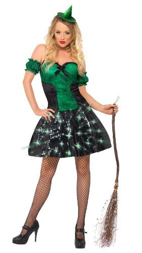 Fever Wicked Witch Costume, Green/Black, Small