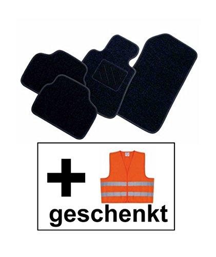 RAU Passform Fussmatte FREE schwarz inkl. Warnweste orange für Mercedes E-Klasse W211 / S211 Limousine / T-Modell Kombi Bj. 03/02 - 02/09 mit Mattenhalter vorne