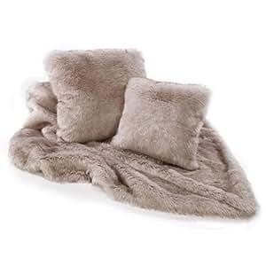 plaid loup sib rien fausse fourrure 140cm x 180cm. Black Bedroom Furniture Sets. Home Design Ideas