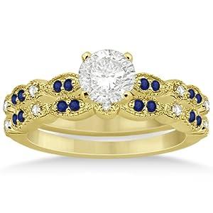 Pave-Set Blue Sapphire and Diamond Bridal Set with Milgrain Edge 18k Yellow Gold 0.49ct