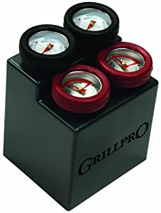 GrillPro 11381 4-Piece Min Meat Thermometers with Bezel