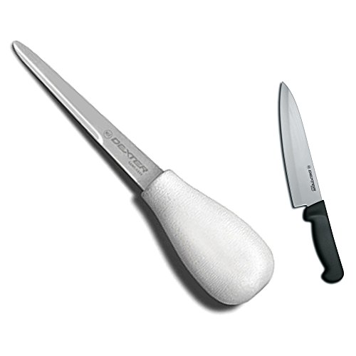 """Dexter Sani-Safe Oyster Knife 4"""" And 8 Inch Cooks Knife With Black Handle"""