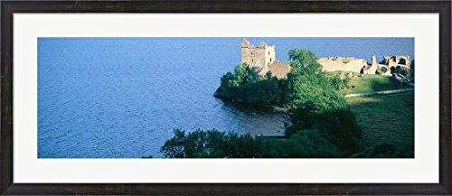 Castle Urquhart, Loch Ness, Scotland, United Kingdom by Panoramic Images Framed Art Print Wall Picture, Espresso Brown Frame with Hanging Cleat, 44 x 19 inches (Ness Espresso compare prices)