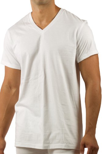 Men'S V-Neck T-Shirt Bamboo Underwear Classic V Neck T Shirts Tee Shirt Tees Pack For Men V-Neck T Mb6002-Nwh-L front-505159