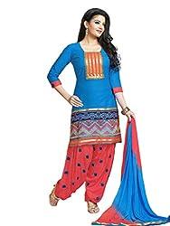 Salwar Studio Blue & Brink Pink Dress Material with Dupatta RP-1002