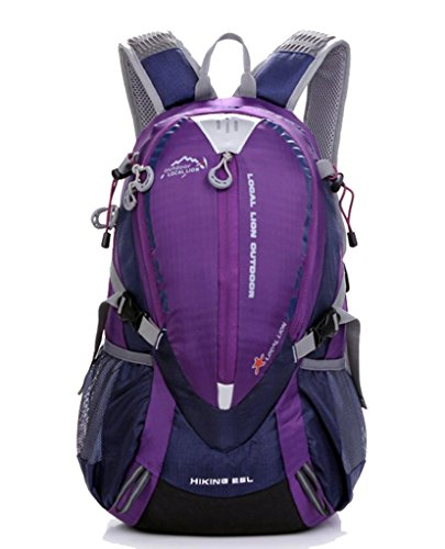 Zerd Waterproof Nylon Mountaineering Camping Travel Backpack Trekking Bag 25L Purple front-262439