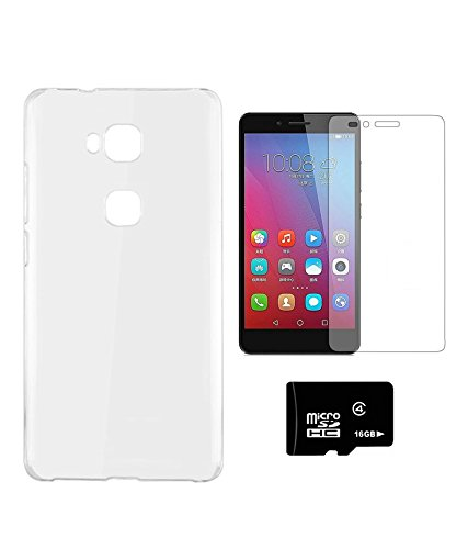PRINTZ Hard back cover for Huawei Honor 5x With 16 GB MEMORY CARD AND TEMPERED CLASS