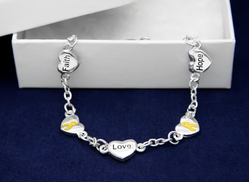 Gold Ribbon Bracelet-Hope, Faith, Love (18 Bracelets)